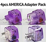 NEW! 4 Pieces HIGH QUALITY AMERICA TRAVEL ADAPTER Pack for SOUTH and N. AMERICA; ARGENTINA BRAZIL CHILE PERU URUGUAY COSTA RICA COLOMBIA DOMINICAN REP. USA MEXICO CANADA / WITH DUAL PLUG-IN PORTS AND BUILT-IN SURGE PROTECTORS