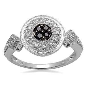Sterling Silver Black and White Diamond Round Ring (1/10 cttw, I-J Color, I2-I3 Clarity), Size 7 by Amazon Curated Collection