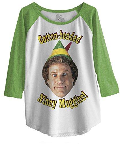 "Elf The Movie Juniors Raglan 3/4 Sleeve T-Shirt ""Cotton-Headed Ninny Nuggins!"" Logo M"