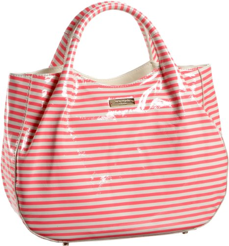 Kate Spade Seersucker Patent Treesh Satchel,Florescent Pink/Cream,One Size