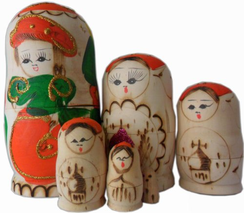 5.9inch Wooden Set of 6 Cutie Nesting Dolls Matryoshka Madness Russian Doll