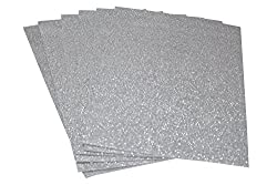 Pack of 6 A4 Size Glitter EVA Foam Sheets for Creative DIY Arts & Crafts, Party Decorations, Scrapbooking, School Crafts, Hobby Purposes - Color: Silver