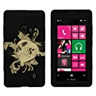 MINITURTLE, Dual Layer Tough Skin Dynamic Hybrid Hard Phone Case Cover, Clear Screen Protector Film, and Stylus Pen for Windows Smart Phone 8 Nokia Lumia 521 /T Mobile /MetroPCS (Skull and Leaves)