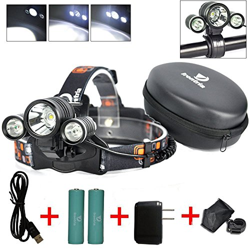 Irontria Waterproof LED Headlamp Flash Light, White (Head Mounted Led Flashlight compare prices)