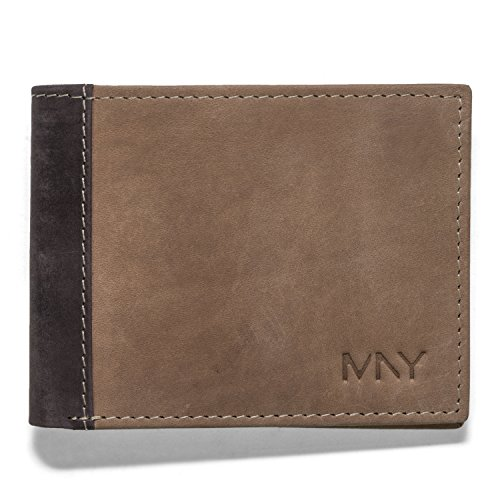 Marc New York Two-Tone Mens Leather Bifold Wallet 2 Cash Pockets (Mens 2 Fold Leather Billfold Wallet)