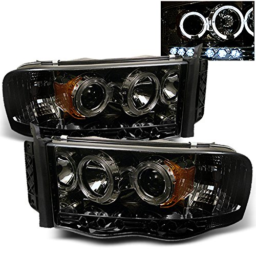 Dodge Ram Pickup Truck Smoked Smoke Dual Halo Ring LED Projector Replacement Headlights Left + Right (Dodge Ram 1500 Smoked Headlights compare prices)
