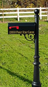Lewiston Mailbox with Post (Ornate Base and Solar Lamp) Color: Black