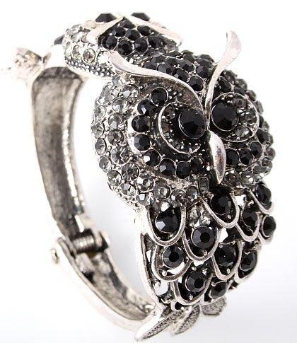 Trendiger Armreif Eulen Antik Silber Kristall Hellgrau und Schwarz