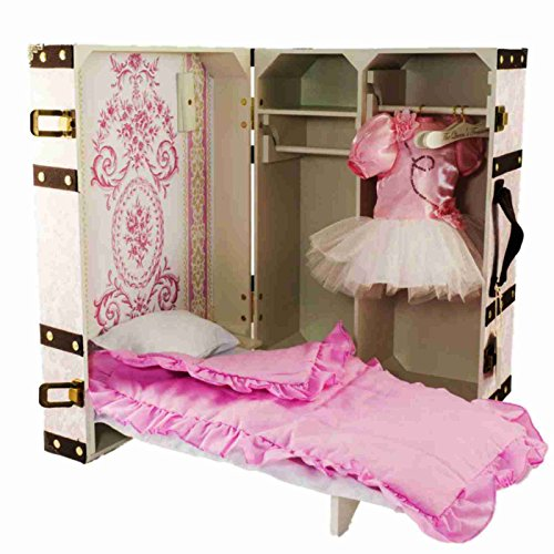 The Queen's Treasures 18 inch Doll Pink Storage Trunk Suitcase, Storage for Clothes, Doll Bed, Bedding, and Hangers. Designed for 18 inch Girl Doll Furniture, Clothing, and Accessories. (Doll Storage Trunk compare prices)