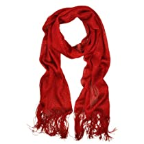 Premium Solid Color Glitter Metallic Mesh Scarf - Red