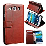 XYUN Luxury Wallet PU Leather Show Stand Flip Case Cover For Samsung Galaxy S3 I9300 with Business Card Slots (Brown)