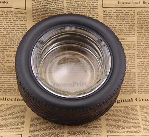 YOURNELO Tire Shape Round Car Cigarette Ashtray Holder for Home