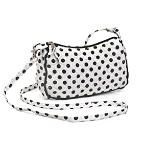Olive n Figs Quilted Shoulder Handbag - Black & White Polka Dots