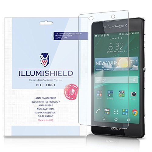 Illumishield - Sony Xperia Z3V Screen Protector With Hd Blue Light Uv Filter And Lifetime Replacement Warranty / Premium High Definition Clear Film / Reduces Eye Fatigue And Eye Strain - Anti- Fingerprint / Anti-Bubble / Anti-Bacterial Shield - [2-Pack] R