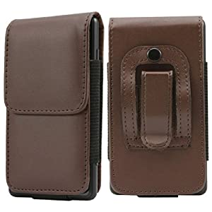 Deet® TM5 - iPhone 4 4S PRO Belt Clip case in BROWN with MAGNETIC Button and Elasticated phone holder. PU Leather Executive Protective Pouch Case Cover