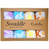 Muslin Baby Swaddle Blankets 4 Pack - CuddleBug 47 X 47 Inch Large Muslin Swaddles - Soft Cotton Blankets - Baby...