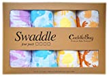 Muslin Swaddle Blankets 4 Pack – CuddleBug 47 inch x 47 inch Large Muslin Swaddles – Best Soft Cotton Muslin Blankets – Best Baby Shower Gift – 4 Cute Designs – Lifetime Guarantee! (animal print)