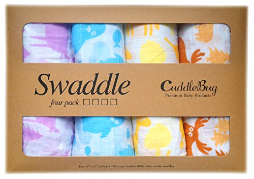Read About Muslin Swaddle Blankets 4 Pack - CuddleBug 47 inch x 47 inch Large Muslin Swaddles - Best...