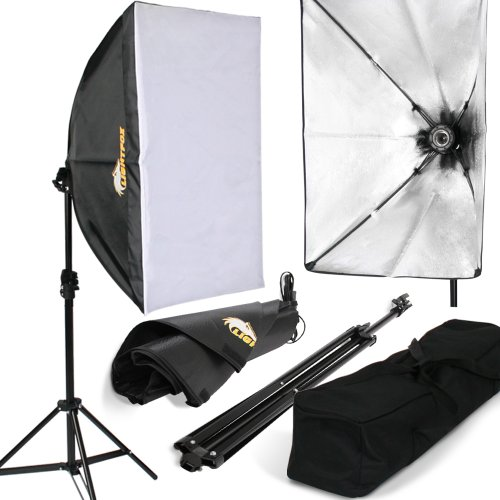 Lightfox Lampada fotografica luce per studio fotografico kit illuminazione daylight softbox con stativo borsa (set 1)