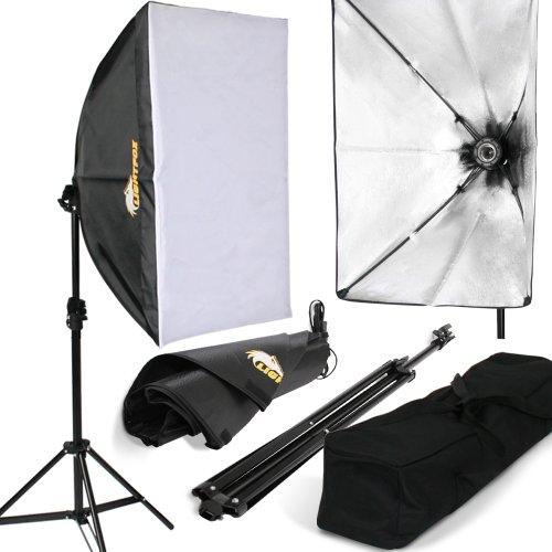 Lightfox Lampada fotografica luce per studio fotografico kit illuminazione daylight softbox con stativo borsa (set 1)