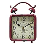 JustNile Antique-Style Table/Desk Clock - Square Red