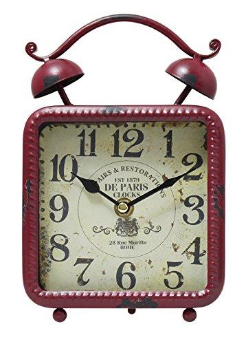 JustNile Antique-Style Table/Desk Clock - Square Red 0
