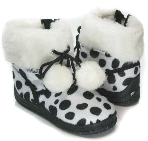 Black White Polka Dots Shearling KIDS Toddler Winter Boots