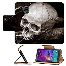 buy Luxlady Premium Samsung Galaxy Note 4 Flip Pu Leather Wallet Case Still Life With Human Skull On Ashes In The Forest Image Id 27648021