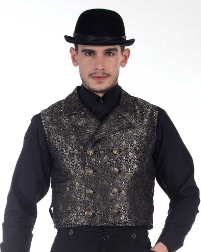 Steampunk Victorian Costume Black Double-breasted Cavalier Vest