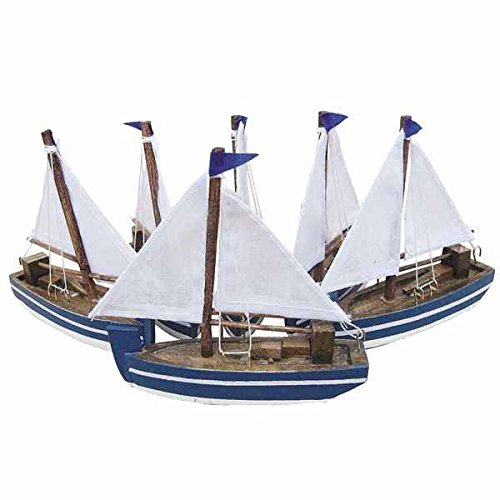 4 piece SET- Model Ship / Wooden / Sailor Boat with Stoffsegeln
