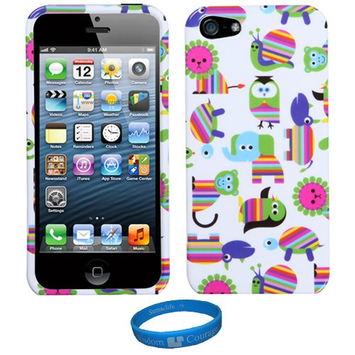 Story Time Animals Design Sumaclife 2 Piece Snap On Faceplate Protective Crystal Hard Case Cover For Apple Iphone 5 Newest Model + Sumaclife Tm Wisdom Courage Wristband