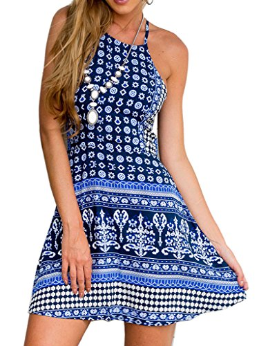 Choies Women's Blue Tile/Tribe Print Strappy Back Bohemian Casual Loose A-line Dress M