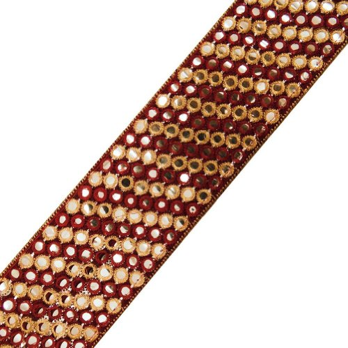 Maroon Fabric Ribbon Trim Thread Embroidered Sequins Border Lace Sewing Craft 3 Yd