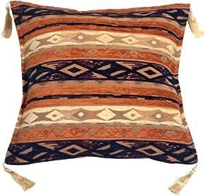 Pillow Decor - Kilim Stripes Blue and Orange 17x17 Throw Pillow