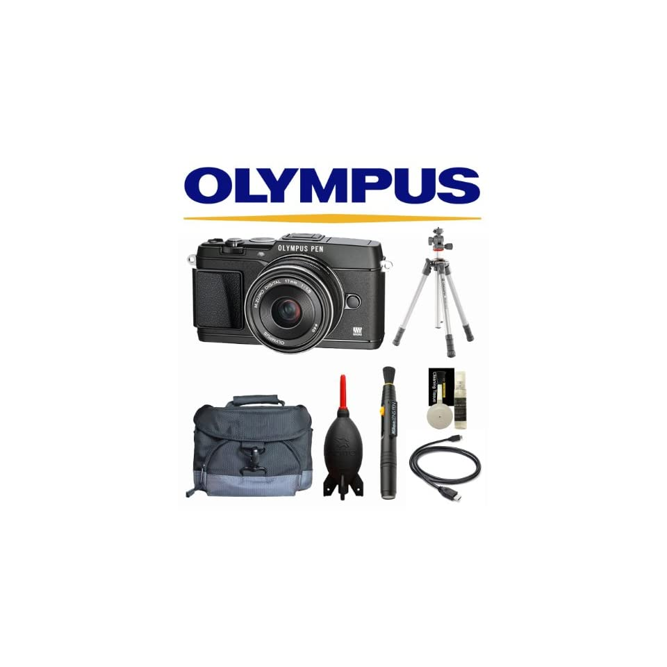 Olympus E P5 PEN Mirrorless Digital Camera with 17mm f/1.8 Lens and VF 4 Viewfinder (Black) + Case + Vanguard Tripod + 32GB Deluxe Kit  Micro Four Thirds Digital Cameras  Camera & Photo