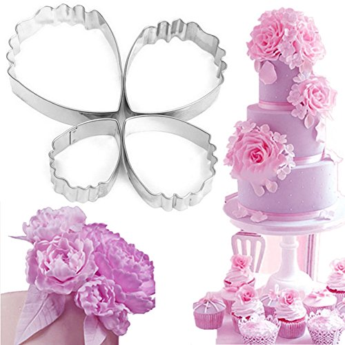 Bihood Fondant Molds Heart Peony Biscuit Cake Cookie Cutters Cake Cookie Cupcake Maker for Kids Cutter Babycakes Cupcake Maker for Girls Cupcakes Maker Girl Baking Mould Biscuit Cutter Set 4 PCS (Hostess Cupcakes Maker compare prices)