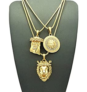 Jesus Face, Medusa Medallion & King Lion Pendant Set w/ Multi Length Box Chains in Gold-Tone