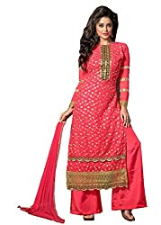 Prenea Women's red unstitched embroidery work unstitched Salwar Suit