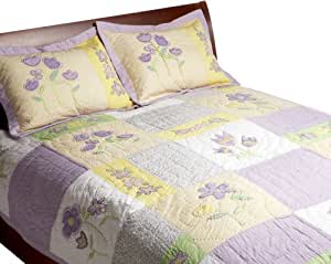 Pem America, Patch Of Flowers Collection, Twin 2-Piece Quilt Set, Yellow