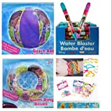 5 Item Bundle: Inflatable Pool Toys for Kids (3 Pieces) AND Disney Ruler + 12-pack Silicone Bracelets / Bands (Disney Doc McMuffin)