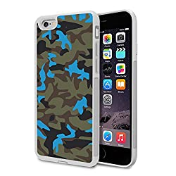iPhone SE / iPhone 5s/ iPhone 5 Bumper Case (White) - Neon Blue Camouflage - Limited Edition Designed by Nik-L