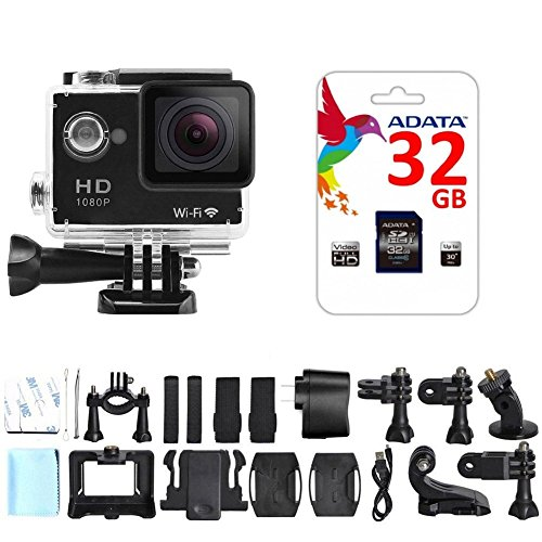 Best Waterproof Action Camera with 32 GB Micro SD HC Memory Card Large 2 Inch Display, Wide 170 Degree Angle Lens, WiFi and Full HD 1080P (12MP, HDMI Output and a 18 Piece Sport Accessory Kit) (Best Underwater Digital Camera compare prices)