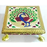 Meenakari Peacock Design Rectangle Ritual Seat - Wood And Metal Foil Paper