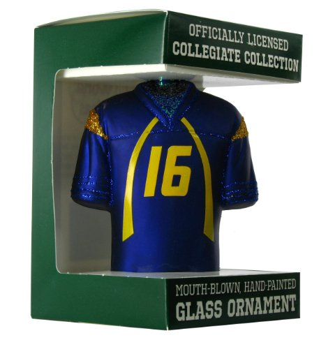 NCAA West Virginia Mountaineers #16 Navy Blue Glass Football Jersey Ornament (Old West Merchandise compare prices)