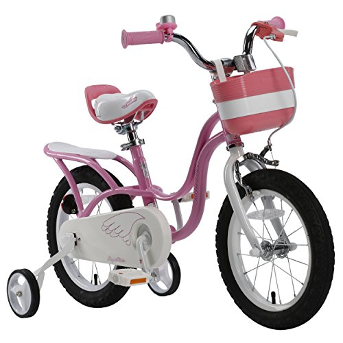 RoyalBaby Little Swan Girl's Bike with basket, 14 inch with training wheels, 18 inch with kickstand, gifts for kids, girls' bicycles 1