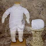 Baby Boys White Cotton Smocked Baptism Outfit Set 3M