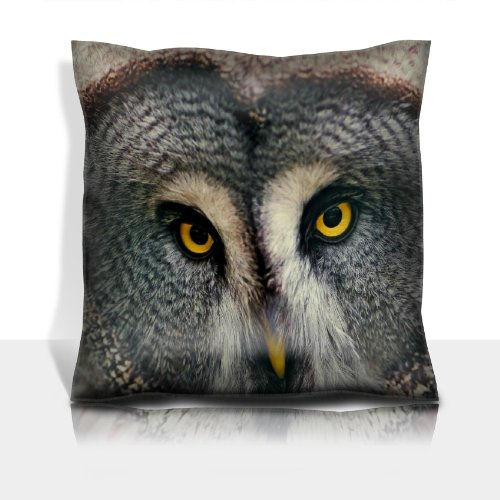 Great Gray Owl Owl Head Birds Predators 100% Polyester Filled Comfort Square Pillows Customized Made To Order Support Ready Premium Deluxe 17 1/2 Inch X 17 1/2 Inch Liil Graphic Background Covers Designed Color Definition Quality Simplex Knit Fabric Soft front-906551