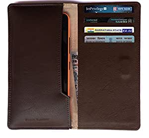 Chalk Factory Brown Leather Case / Pouch/ Cover with card slots for Panasonic Android Mobile Phone (Silver) Mobile Phone