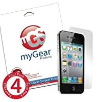 myGear Products RashGuard Screen Protector Film for iPhone 4 & 4S - (4 Pack) Anti-Fingerprint