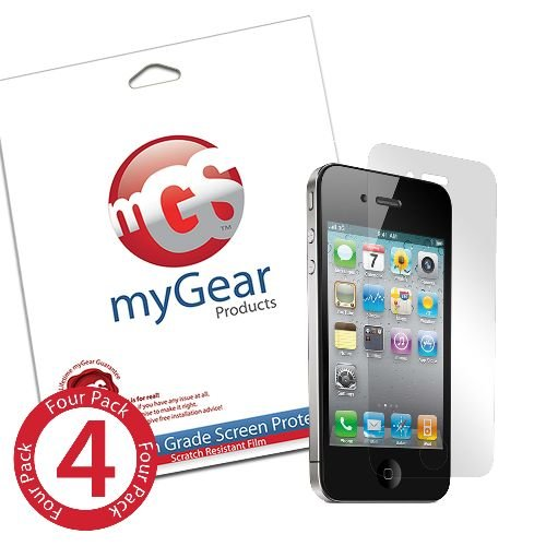 myGear Products Anti-Fingerprint RashGuard Screen Protectors for iPhone 4 4 Pack